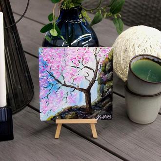 Картина маслом, Миниатюра Сакура, Цветение сакуры, Дерево у водопада