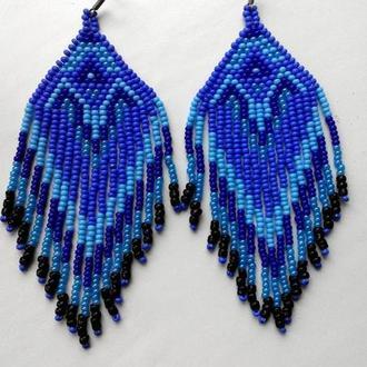 Синее серьги ручной работы из бисера Лучший подарок Яркие серьги