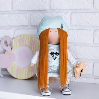 Лялька в костюмі кольору Тіффані з рудим волоссям