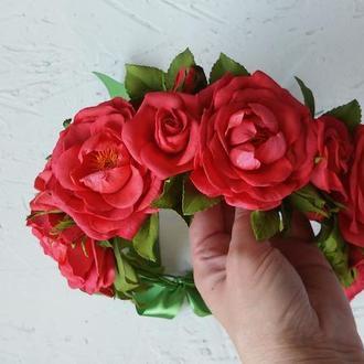 """Венок на голову """"Красные розы"""""""