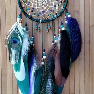 Ловец снов изумрудный-1, микс перьев.