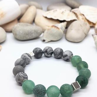 Браслет из натуральных камней, браслет из яшмы, агата, браслет оберег, подарок