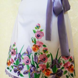 Джинсовая вышитая юбка Миди юбка с цветами Белая яркая летняя юбка