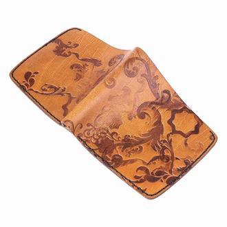 Коричневое портмоне FLOWERS BROWN BIG WALLET из кожи растительного дубления
