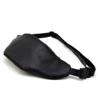 Кожаная сумка на пояс из черной крейзи хорс бренда TARWA RA-3036-3md