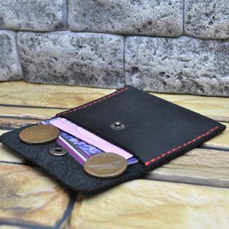 Черный мини кошелек с контрастной нитью K98-0+red