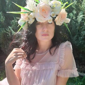 Венок на голову обьемный розовый
