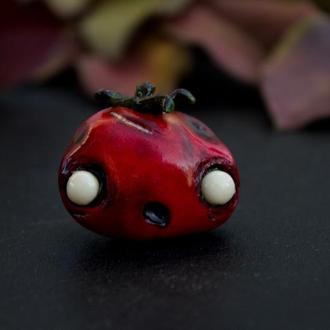 Брошь Зомби помидор,  томат из полимерной глины, подарок на хеллоуин