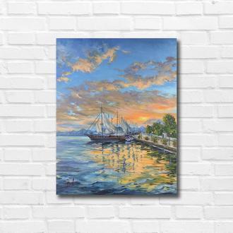 """Картина маслом """"На закате"""" 45х35 см, холст на подрамнике, масло"""