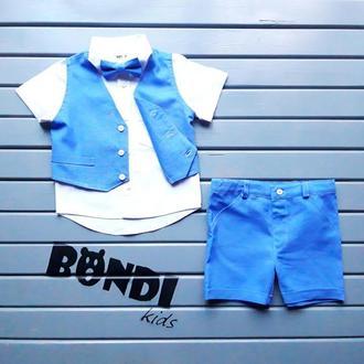 Нарядный костюм на годик для мальчика, синий, лен, 80 р