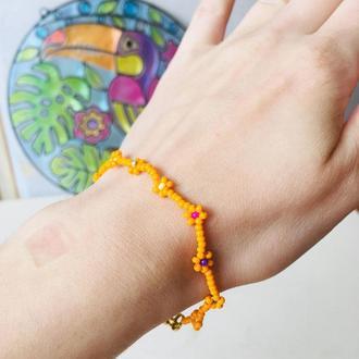 Оранжевый бисерный браслет, цветочный браслет из бисера, фенечка из бисера