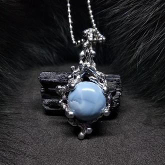 кулон Цвет Волшебства, опал, голубой опал, сталь, олово