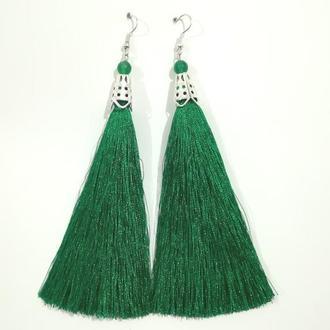 Серьги кисти Зеленые длина 11 см и 15 см, серьги кисточки шелк