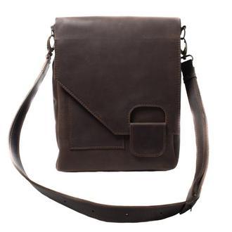 Кожаная сумка-мессенджер на скрытом магните. 07013/коричневый