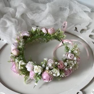 Венок нежно-розовими розами.Венок нежно-розовимы розами.