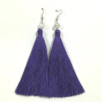 Серьги кисти фиолетовые длина 11 см и 15 см, серьги кисточки шелк