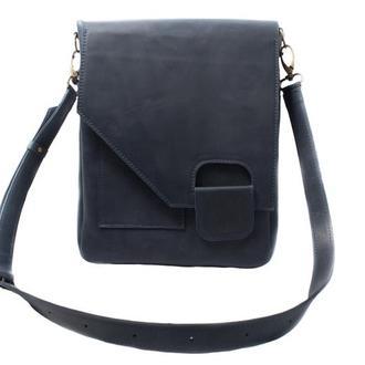 Кожаная сумка-мессенджер на скрытом магните.  07013/синий