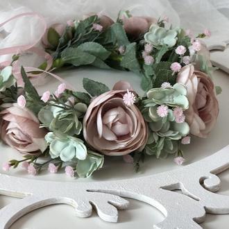 Венок нежно пудровые розы. Венок нежно пудровые розы.