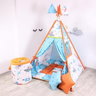 Детская палатка-вигвам с ковриком КОСМОС 125х125х170 см