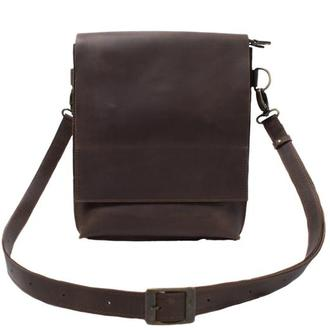 Шкіряна сумка-планшет на прихованих магнітах. 07010/коричневий