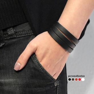 Кожаный браслет из тонких черных полосок код 4645