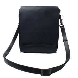 Кожаная сумка-планшет на скрытых магнитах. 07010/черный