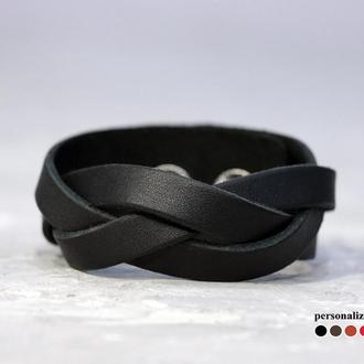 Кожаный браслет плетеный косичкой, код 4641