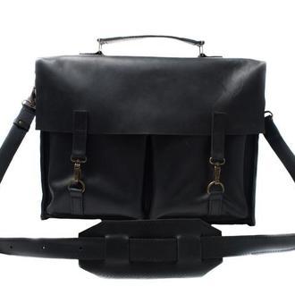 Кожаный портфель на крючках. 07001/черный