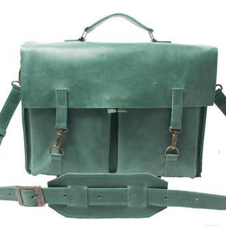 Кожаный портфель на крючках. 07001зеленый