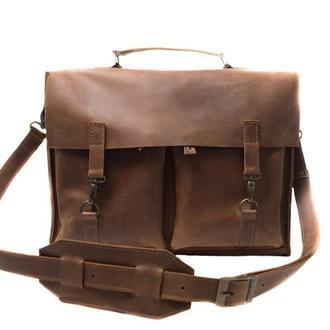 Кожаный портфель на крючках. 07001/коньяк