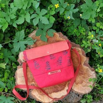 Женская маленькая красная сумка через плечо с ручным принтом