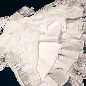 Крестильное платье на девочку 6-12 месяцев.