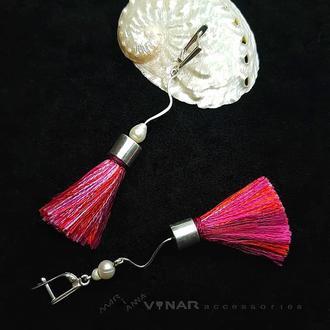 Срібні сережки з натуральним шовком та річковими перлинами VENUS