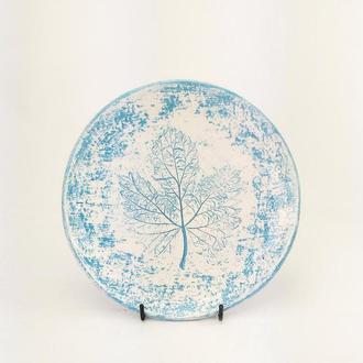 Матовая голубая керамическая тарелка с декором ручной работы, 20 см диаметр,набор тарелок, арт.№42