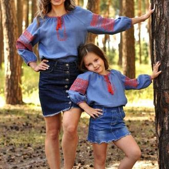 Комплект футболок для мамы и дочки из натуральной ткани