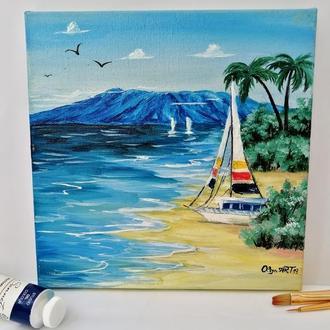 Картина маслом Яхта на песке, Тропический пляж, Летний пейзаж, Картина на подрамнике