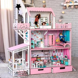 """Большой игровой набор кукольный домик """"ЛЮКС"""" для Барби LOL OMG с мебелью и аксесуарами 114 см"""