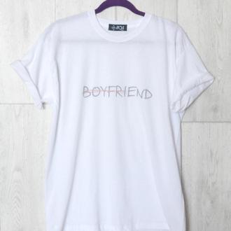 """Футболочка белая """"Boyfriend"""" 100% хлопок"""