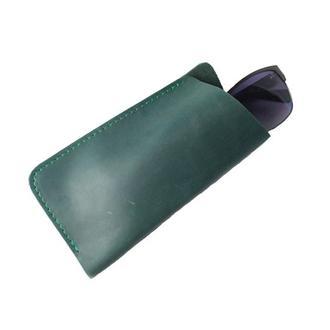 Чехол для очков из натуральной кожи. 02007/зеленый