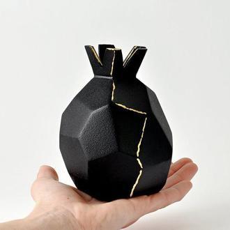 """Абстрактная керамическая ваза """"черный Гранат"""" ручной работы, Высота 12см.,арт.№45"""