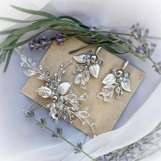Комплект украшений для невесты. свадебные украшения, украшения для невесты, гребень в прическу