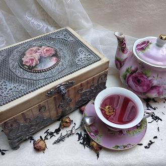 """Шкатулка для чая  """"Чайная роза"""""""
