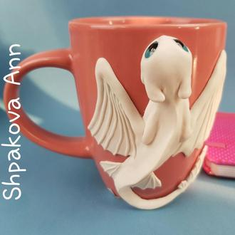 Игрушка кружка дневная фурия чашка с декором подарок полимерная глина