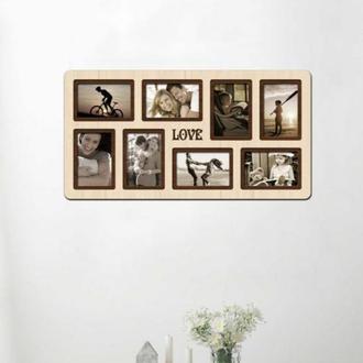 ФОТОРАМКА КОЛЛАЖ ′Love′ 64х34 см , 8 фото 9х13 см