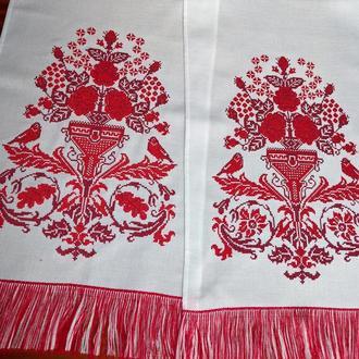 Вышитый свадебный рушник Цветок счастья.Эффект ручной вышивки.
