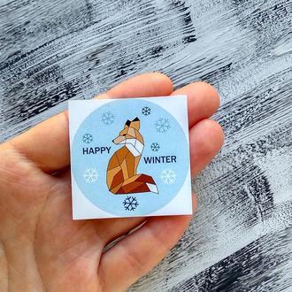 Зимняя наклейка с Лисичкой. Стикер с авторской иллюстрацией Лисичка. Зимняя наклейка для планера