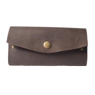 Кожаный чехол для очков на металлической кнопке. 02005/коричневый
