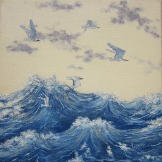 картина маслом чайки над водою