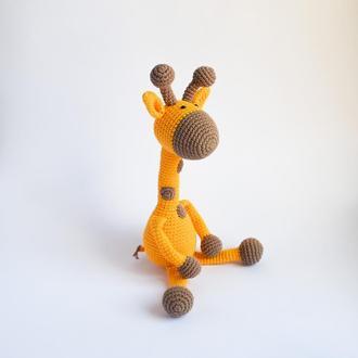 Игрушка мягкая Жираф. Вязаный жирафик. Подарок ребенку. Подарок новорожденному. Эко-игрушка.