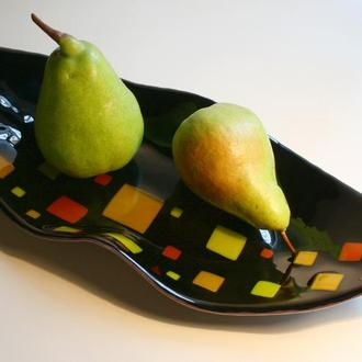 Черный лепесток - стеклянное блюдо для фруктов